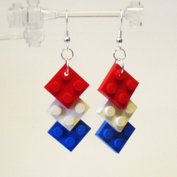 Mini Red White and Blue Triple Square Earrings