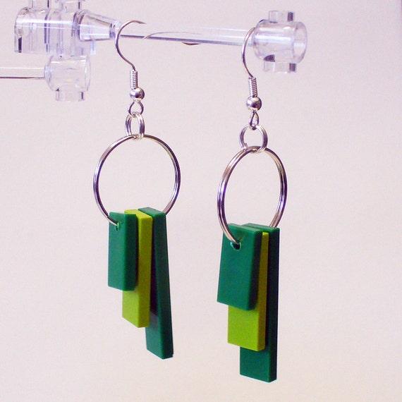 Triple Green Tile Dangle Earrings