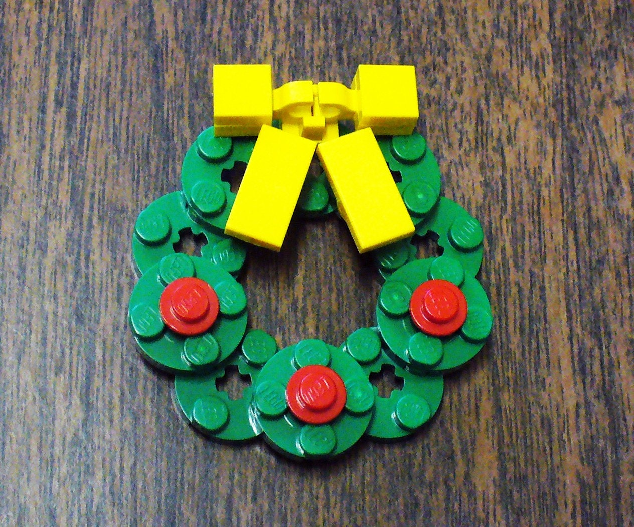 Custom Lego Christmas Wreath Pin With Yellow Bow