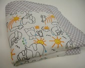 You are My Sunshine Elephant Baby Blanket in White 27 x 28 MADE TO ORDER