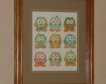 Short Legged Owls Choose From Two Designs KB Exquisites Print Art 8 x 10