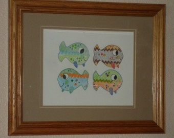 Little Finned Fish KB Exquisites Print Art 8 x 10