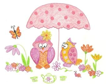 Hoos Having Tea Owls KB Exquisites Nursery Print Art 8 x 10
