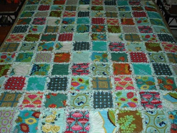 Reserved for hal0child Garden Party Rag Quilt