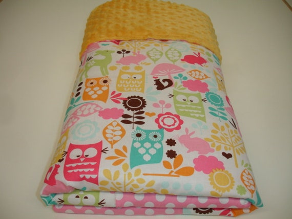 Forest Life in Watermelon Minky Baby Blanket with  32 x 44 MADE TO ORDER