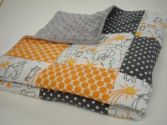 You Are My Sunshine Elephant Orange and Grey Minky  Blanket 32 X  32  MADE TO ORDER