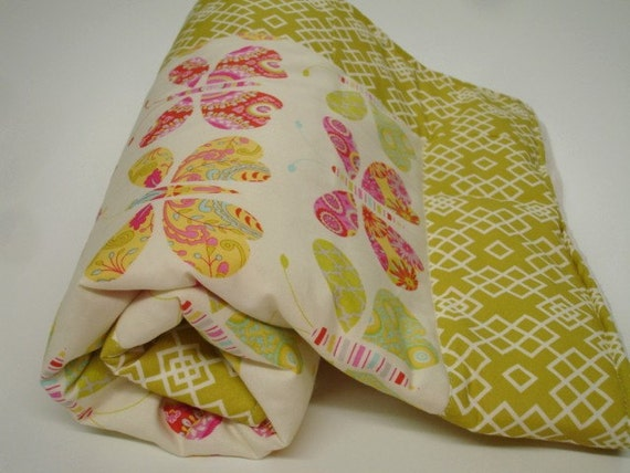 Kumari Butterflys  Baby Blanket with Minky 28 x 28 Ready to Ship