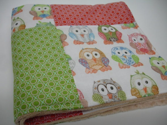 Short Legged Owls and Hugs and Kisses in Apple and Candy Baby Lovey 19 x 19 READY TO SHIP