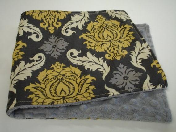 Granite Damask  Baby Burp Cloth with Minky