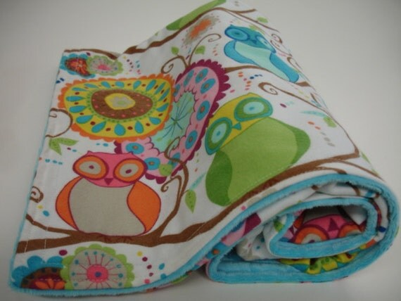 Owl Friends in Multi Flannel Blanket  with Turquoise Minky 35 x 35 MADE TO ORDER