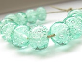 handmade lampwork glass beads bubble mint green made to order  transparent set