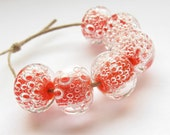 handmade lampwork bubble glass beads orange clear set earring pairs made to order