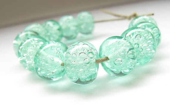 handmade lampwork glass beads bubble mint green made to order  transparent set