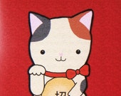 Print of Original Illustration Japanese Lucky Cat Red Calico Cute Kitty Business Good Luck Charm