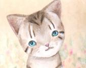 Cute Kitten Cat Original Painting Grey Tabby Soft Pastel Vanilla White Shabby Chic on Canvas