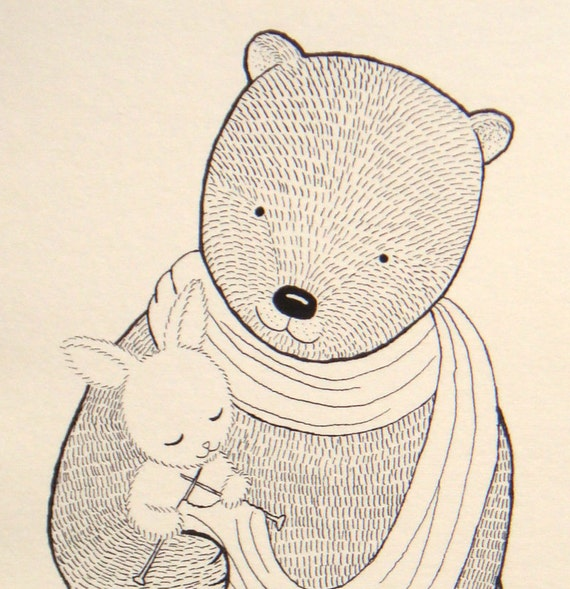Bear Bunny Ink Drawing Print Woodland Love illustration Knitting Bunny Black and White Ivory 4x6 Rustic Home Wall Decor Nursery Art Print