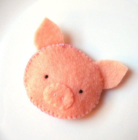 Felt Brooch Cute Pig Pin Handmade Softie Button Accessory MiKa Art