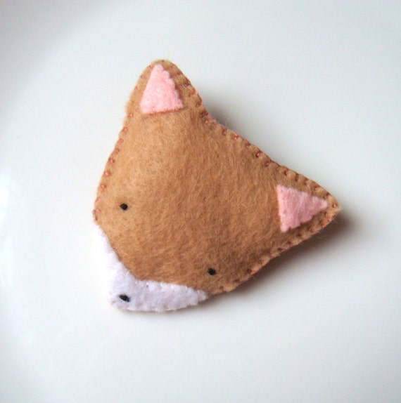 Animal Felt Brooch Cute Fox Handmade Pin Badge Woodland Fashion Accessory MiKa Art