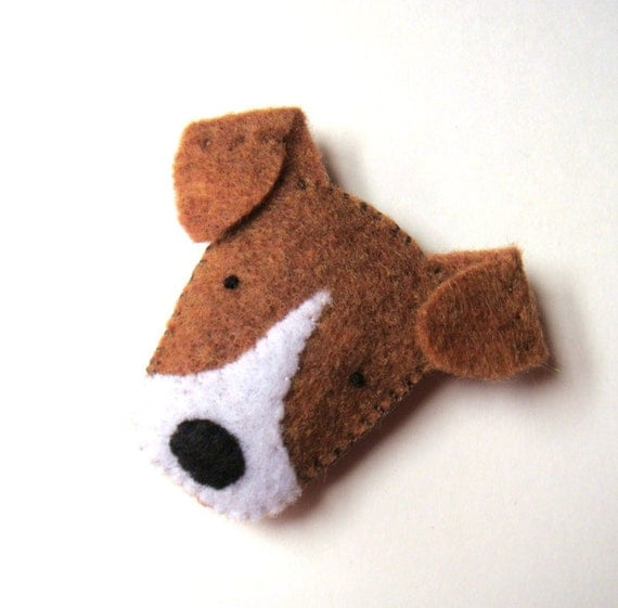 Felt Brooch Cute Dog Pin Jack Russell Terrier Badge Handmade Fashion Accessory