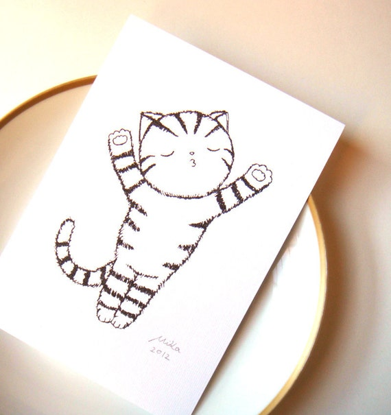 Cat illustration Print Funny Cat Art Cat Ink Drawing Print Minimalist Home Wall Decor Black & White Wall Art Cute Funny Cat Lover Gift MiKa