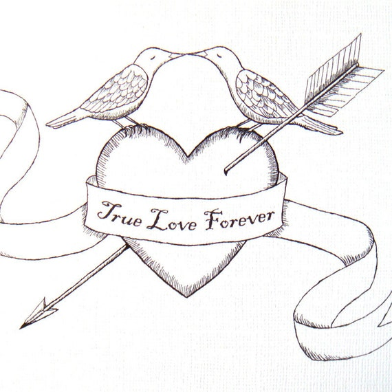 Items Similar To Wall Decor Arrow Heart Bird Kiss Love Illustration Print Woodland Wedding ...