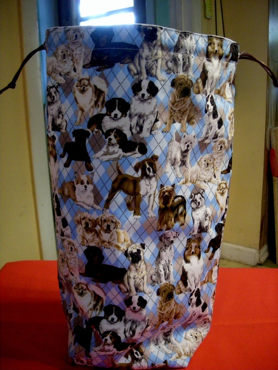 The Tall Project Bag  Puppies on an argyle background  B - 21