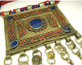 Large Vintage Tribal Breastplate  Necklace..Koochi Nomadic Jewelry..Blue Lapis, Red Old Glass, Coins