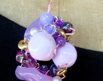Lavender Beads Wrapped in PINK Wire on a  Long Gold Snake Chain, Recycled Ecochic Chunky Bead Collage Pendant OOAK, Order Any Color Combo