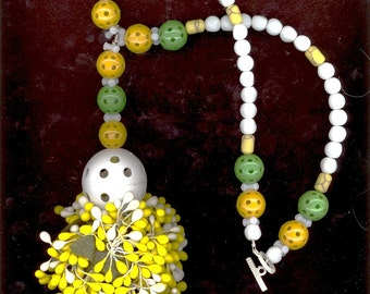 Urban Earth Mother Crazy Whatziz Yellow and White Fruit Pendant Necklace, Giant Plastic necklace, ART, OOAK