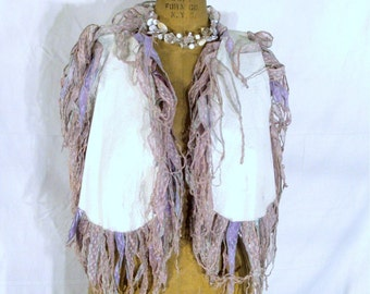 Earth Spirit White Leather Vest..White Textured Leather Fringed with Lavender Organza Ribbon and Merrowed in Pink and Baby Blue Stitching
