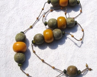 Serpent Snake Bead  Necklace, Tribal Faux Amber, all Vintage Bead Necklace, Saffron Colored Beads By Rachelle Starr for Starrbeads on Etsy