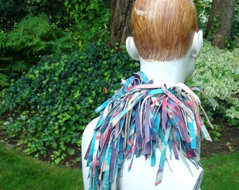 Tie Dye Leather Scarf..Fringed Boa, Headwrap, Necklace..RED, White, Turquoise..Hot Boho Style by Rachelle Starr