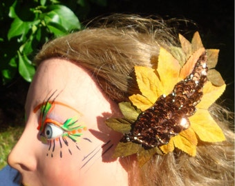 Yellow Hair Clip..Saffron Golden Yellow and Brown Fascinator   Earthy Leaves In Rust Brown Sequins and Mustard and Loden Fabrics