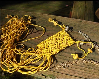 Macrame Yellow Fiber Pendant, Sailors Knots...HiPPIE BoHO TRiBAL BReASTPLATE, Yellow Macrame, Beaded Fringe, Vintage Recycled Chain