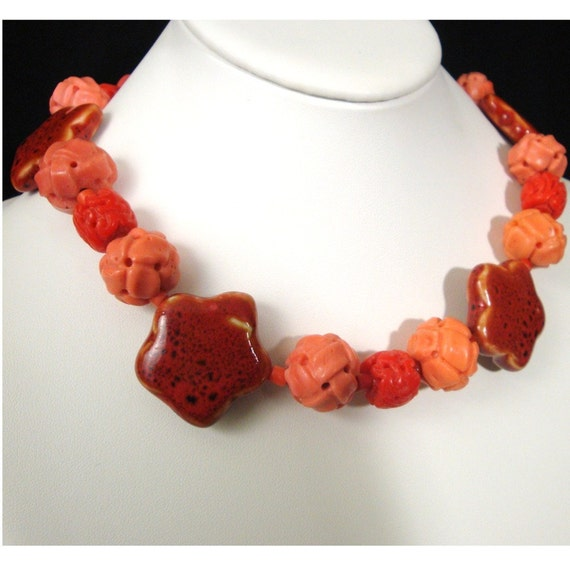 RED, Peach Orange Necklace,Valentine Colors,  SALE, rare Carved Peking Coral Glass, My red  Ceramic Stars, Unusual,  Vintage Beads