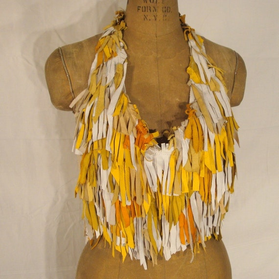 Woodland Nymph meets Beach Hippie in this Totally Fringed Leather Halter..From Renaissance Faire to Burning Man to Beach or Pool this White and Yellow Top is NOW