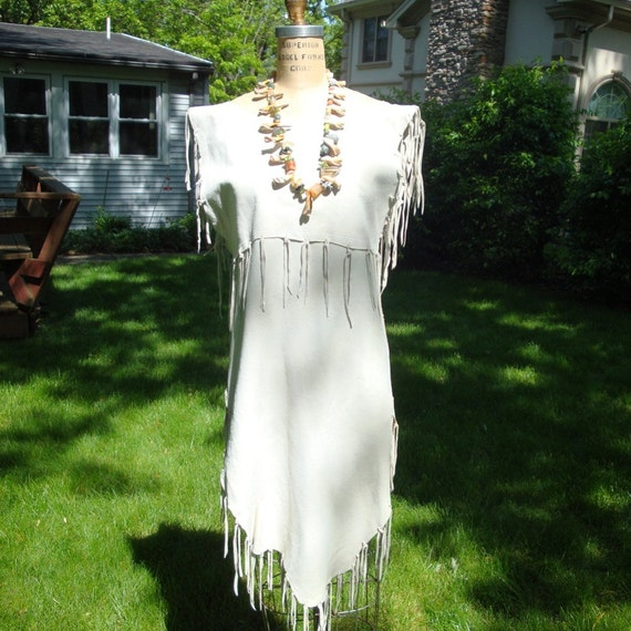 Native American Wedding Dresses: White Fringed Suede Woodland Indian Maiden Dress Or