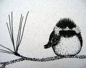 NOTECARD - tiny BIRD on a branch - with glitter - BLANK - FrOnT PaGe