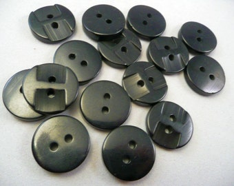 BUTTONS - BLACK - VINTAGE set of 15 - owl face look