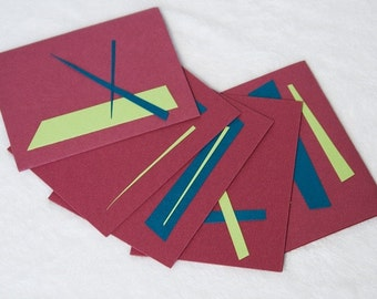 NOTECARDS - MOD mix notecard set - GEOMETRIC - lime green - turquoise - blackberry
