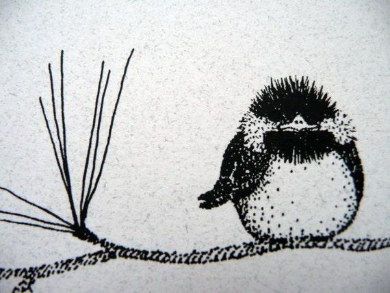 tiny bird on a branch-set of 8