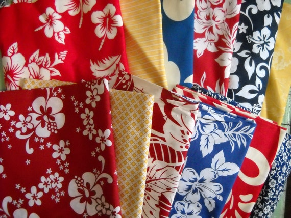 SALE - Hawaiian Fabric Assortment - 12 fabrics - 14 yards - Perfect for Crafting and Quilting