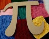 Greek Symbol Pi  Mdf Wood Shape for Mosaics, painting, decoupage or collage