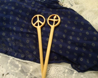 Set of Peace Sign  and Flaming Chalice Chopstick Hair Sticks from Reclaimed Yellowheart Wood