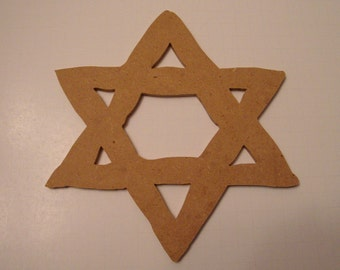 Unfinished Mdf Star of David Mosaic Base/Craft Shape