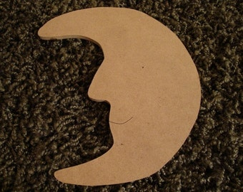 Moon Handmade unfinished mdf wood moon cut out mosaic base craft shape