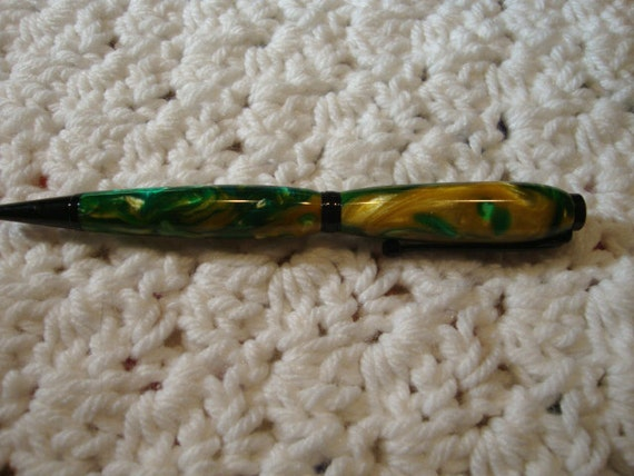Handmade Green and Yellow Acrylic  Acrylic Pen/Gifts under 20 Dollars