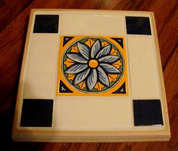 Clearance  Blue Gold and White Flower Trivet or Candle holder
