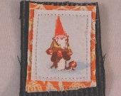 Gnome Brooch - a Tiny Art Quilt