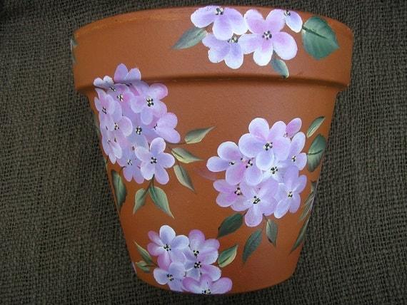 Hydrangeas Flower Pot Hand Painted Hydrangeas Clay Flower Pot